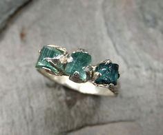 Men's Raw Rough 3 stone blue green tourmaline gemstone Ring Recycled Sterling Silver Statement Ring Wedding Band Size 10 byAngeline on Etsy, $200.00