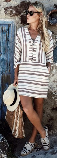 #summer #trendy #outfitideas Striped Lace-Up Tunic Dress