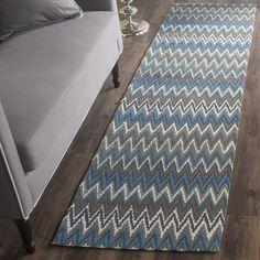Safavieh Handmade Cedar Brook Teal/ Blue Cotton Rug (2' x 8')