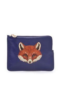 Tory Burch Vachetta Large Fox Pouch  Jolie pochette bleue avec un renard impertinent dessus