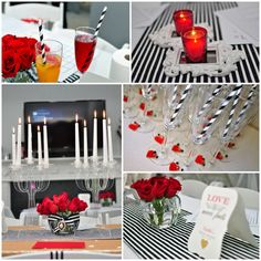 preview to bridal shower decor - black & white, red, and pops of gold - www.facebook.com/banafritdecor