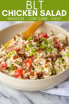 This Whole30 BLT Chicken Salad is the kind of quick and easy lunch that helps get me through the 30 days. Just pack this chicken salad up and enjoy on a bed of lettuce, in lettuce cups... 25 minutes · Gluten free · Serves 4 Summer Salad Recipes, Salad Recipes For Dinner, Healthy Salad Recipes, Lunch Recipes, Vegetarian Salad, Keto Recipes, Keto Chicken Salad, Chicken Recipes, Healthy Chicken