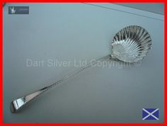 Antique Solid Sterling Silver Shell Pattern Soup Ladle Hallmarked London 1764 REF:67S