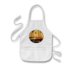 "Mazaag Vintage Day: ""Mazaag"" is an Arabic word expressing pleasure. This design is of the Pyramids by the Nile River in Cairo, Egypt (Middle Eastern Arab Designs - Kitchen Aprons)"