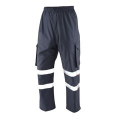 Hi Vis Waterproof PPE Cargo Over Trousers 2XL to 6XL Polyester Blue with reflective tape