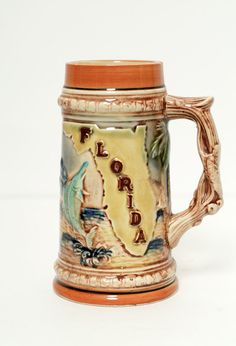 Vintage florida beer stein / Pink Flamingo / 1950s / Collectibles / Steins / beer / 50s / made in Japan / flower / father's day  mid century by VintageBoxFashions on Etsy