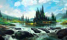 Spruce River Island, Eric VanAllen on ArtStation at https://www.artstation.com/artwork/knYa0