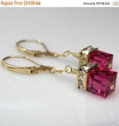 Ruby Crystal Earrings Gold Filled Swarovski Petite Cube