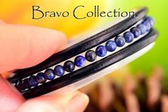 B-896 Genuine Lapiz Lazuli, Tigers Eye & Leather Bangle Wristband Men Bracelet