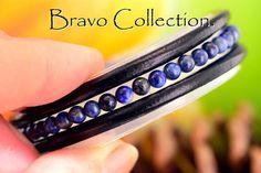 B-896 Genuine Lapiz Lazuli, Tigers Eye & Leather Bangle Wristband Men Bracelet