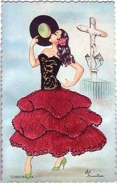 Embroidered vintage postcard Spanish Flamenco dancer ~~Cordoba