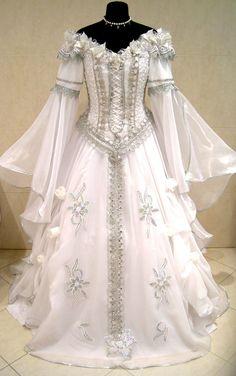 Silver medieval wedding dress victorian gothic larp costume s-m-l renaissance 16 Renaissance Costume, Renaissance Dresses, Medieval Dress, Medieval Clothing, Renaissance Fairy, Gypsy Clothing, Medieval Wedding Dresses, Gothic Clothing, Beautiful Gowns