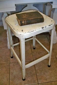 Steel vintage farmhouse industrial stool by AnitaSperoDesign, $89.00