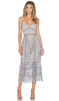 self-portrait Arabella Midi Dress in Smoked Lilac & Nude | REVOLVE