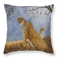 "Cheetah With Cub Throw Pillow 14"" x 14"" (shown) 3 more sizes available by Johanna Lerwick - Wildlife/Nature Art. Prints (paper, canvas, acrylic & metal), greeting cards and throw pillows available."