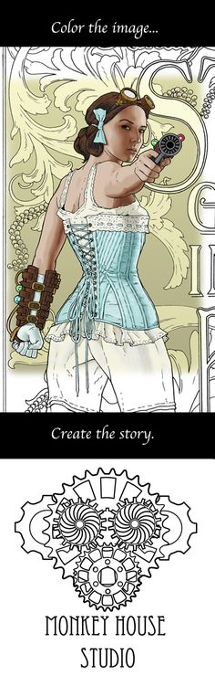 Color and create your own story! Looking for a unique approach to the art of adult coloring? Monkey House Studio creates original, detailed Steampunk and Sci-fi images for adult coloring and story inspiration. Color the image and use the artwork, caption and title to make an original story. Follow your imagination!  Prints, books, posters and digital downloads can be found at https://www.etsy.com/shop/MonkeyHouseStudio