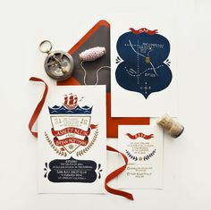 Lovely nautical wedding suite by Quill & Fox design