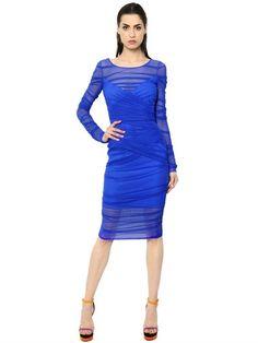 VERSACE Draped Stretch Tulle Dress, Blue. #versace #cloth #dresses