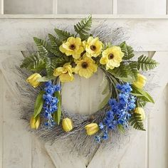 """Faux Yellow Tulip & Anemone 24"""" Wreath 