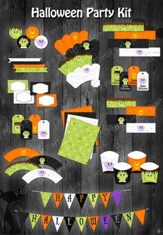 """Halloween Party Kit - Instant Download - This super fun Halloween party listing includes the entire DIY printable party package and is available as an instant download!  Package includes :  2"""" Cupcake Toppers Paper Straw Flags Food Cards / Tents Plain Party Tags Cupcake Wrappers """"Happy Halloween"""" Banner Popcorn Boxes Matching Papers Water Bottle Labels """"Happy Halloween"""" Party Tags Bubble Wrappers French Fry Boxes"""