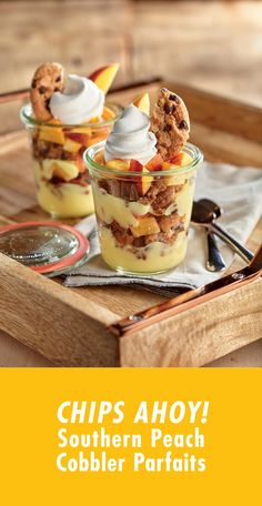"These would be kinda fund to take to a party I think. They look delicious! [ad] These scrumptious Southern ""Peach Cobbler"" Parfaits unite the chocolate chip goodness of CHIPS AHOY! Mini Desserts, Summer Desserts, Just Desserts, Delicious Desserts, Dessert Recipes, Yummy Food, Southern Peach Cobbler, Chips Ahoy, Creative Food"
