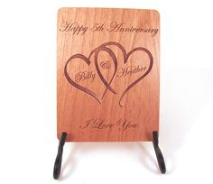 Anniversary Card  5 Year Anniversary Wood by memoriesforlifesb, $5.00