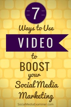 Do you use videos in your marketing? Are you looking for ways to increase engagement and shares? Here are seven ways to use video to boost your social media efforts via Social Media Examiner. Marketing Website, Marketing Software, Facebook Marketing, Business Marketing, Content Marketing, Internet Marketing, Affiliate Marketing, Online Marketing, Social Media Marketing