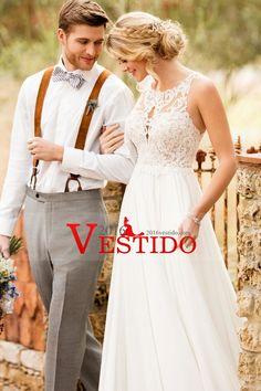 2017 una línea de vestidos de novia gasa cuchara con tren de barrido Applique