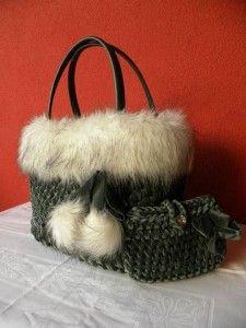 L'Emporio delle Borse di Lucia borsa Camilla in velluto ed ecopelliccia