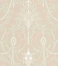 Marlborough (0273MAPURBE) - Little Greene Wallpapers - A large scale pattern, reminiscent of an early 20C interpretation of one of Robert Adam's designs. Shown here in neutral cream, very elegant and ornate. Please order sample for true colour match.`