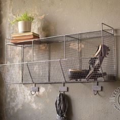 This charming industrial HUGE Wire Shelf With Cubbies and Hooks is perfect for keeping the mudroom organized. Visit Antique Farmhouse for more display and storage. Wall Cubbies, Crate Storage, Storage Bins, Wire Shelving, French Country Bathroom, Storage Bin Shelves, Wall Storage, Vintage Kitchen Decor, Bathroom Decor Accessories