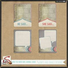 He Said/She Said Journal Cards from Snips and Snails Designs