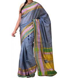 Grey Pure Handloom Kanjeevaram Silk Saree