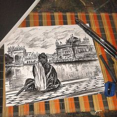 The Artist's Canvas This is a lovely sketch of Sri. Artist Canvas, Canvas Art, Farmer Painting, Guru Nanak Wallpaper, Temple Drawing, Chicano Art Tattoos, Architectural Prints, Cow Art, Art Drawings Sketches