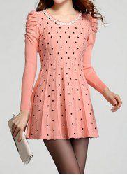 $20.63 Polka Dot Ladylike Style Puff Sleeve Scoop Neck Dress For Women