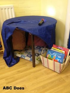 """Book nooks shared by ABC Does ("""",) Under a table with a torch Classroom Layout, Classroom Organisation, Classroom Design, Preschool Classroom, Classroom Ideas, Organization, Reading Display, Reading Nook, Reading Areas"""
