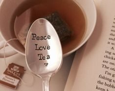 Peace, love, tea vintage hand stamped tea spoon created by The Paper Spoon- tea lover, friendship, book club, birthday gift
