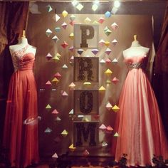 Prom Window Display at Ema's Bridal Shop in Salinas, Ca. http://www.mannequinmadness.com/pre-owned-designer-mannequins/