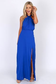 Gown With the Wind Slit Maxi Royal Blue