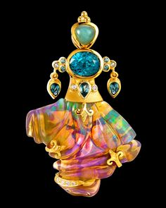 """*SPECTACULAR* Paula Crevoshay carved opal pendant - """"Beyond Color"""" Collection"""