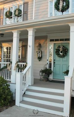 Charming Shutter Colors For Tan House Christmas Porch Tour 2014 House Paint Exterior, Exterior House Colors, Exterior Design, Beige House Exterior, Outdoor House Colors, Exterior Stairs, Exterior Siding, Gray Siding, Facade Design