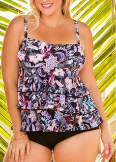 74ccc8eb2f406 Smart   Sexy Womens Light Lined Flutter Sleeve Tankini