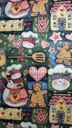 SNOWMAN KITCHEN Susan Winget Fabric 100% cotton 1 by MombieDesigns