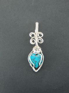 Small Turquoise Heart pendant Sterling silver wire by LindysLane on Etsy