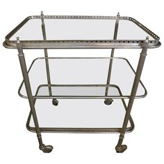 French Three-Tiered Nickel-Plated Cart   From a unique collection of antique and modern bar carts at https://www.1stdibs.com/furniture/tables/bar-carts/