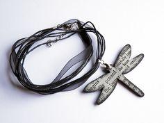 Typewriter dragonfly pendant in black and grey  by verdesedano