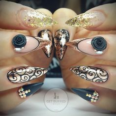 Rose Gold and Black Stiletto Nails