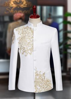 """""""Enjoy the epitome of ease and the peak of elegance in this bespoke """"White Prince Suit"""" which enables you to stand out on your special day."""" Inbox us or 📞 for pricing and Free Designer's Appointment Sherwani For Men Wedding, Wedding Dresses Men Indian, Wedding Dress Men, Wedding Suits, Wedding Tuxedos, Nigerian Men Fashion, Indian Men Fashion, Mens Fashion Wear, Suit Fashion"""