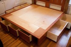 King size captain's bed with storage made from by Zepwood on Etsy
