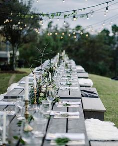 We're just loving this gorgeous tablescape by @local_milk. The lights, the greenery, the contrast between textures are just perfection!